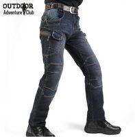 al por mayor los pantalones vaqueros al aire libre-Nuevo IX7 SWAT militares estilo Cargo Jeans Hombres Casual Motocicleta Denim Biker Jeans Elástico Táctico Ropa al aire libre Ejército Jeans