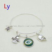 Cheap New Green Bay American football Sports series alex ani charms bracelets super bowl Packers Expandable Wiring Bracelet Bangles BB0003
