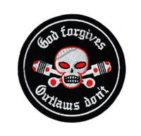 Wholesale Hot Sale GOD Forgives Outlaw Don t Motorcycle Embroidered Patch Biker Iron On Patch for Jacket Vest Rider Embroidery Patch