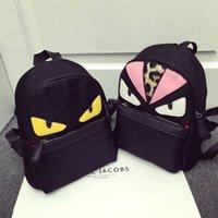 Wholesale New nylon and PU Little Monsters devil bag animal backpack fashion little monster pattern nylon backpack for girls