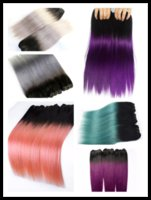 Wholesale 1 Bundle Ombre Human Hair Straight inch T1b grey purple green pink red Hair Weave Bundles Quality Colored Remy Hair Extension