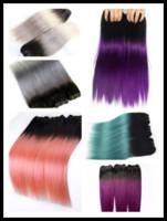 al por mayor colored hair weave bundles-1 paquete Ombre cabello humano recto 10-18 pulgadas T1b gris púrpura verde rosa rojo Pelo Weave bultos de calidad de color Remy extensión de cabello