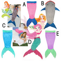 animal sleeping bags for kids - 2016 Mermaid Blanket Towel Envelopes Shark Sleeping Bag For Kids Soft Animal Pajamas swaddling Children Quilt Velvet Mermaid Tail Blanket