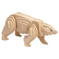 bear puzzles - MICHLEY pc D Wooden Jigsw Puzzle Kid Educational Woodcraft DIY Kit Toy Simulation Models Polar Bear ZJ0023 woodpuzzle