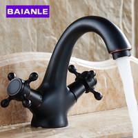 Wholesale Classic Bathroom Ancient black Faucet Double Cross Handle Vesssel Sink Basin faucet Mixer Tap Cold Hot Water Tap