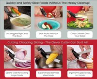 Wholesale celver Cutter in Stainless Steel Kitchen Scissors with Sharp Knife Blade Cutting Board Kid Food Cutter