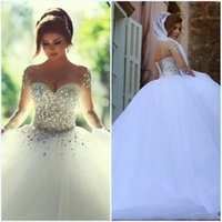 Wholesale vestidos de noiva Silver Sequin Crystals Long Sleeves Cheap Wedding Dresses Ball Gown Wedding Gowns Lace Up Back robe de marriage