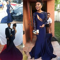 african americans pictures - Fashion African Americans Lace Navy Prom Dresses Sexy Keyhole Satin Open Back Evening Dresses Long Sleeves Red Carpet Holiday Gowns