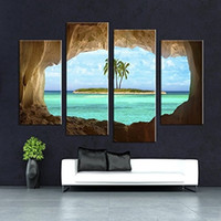 beautiful islands - Unframed Panels Large Size Beautiful Ocean Island Through The Cave View Vintage Oil Paintings Wall Art Picture