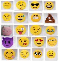 Wholesale fashion Diameter inch designs Cute Emoji Cushion Smiley Pillows Stuffed Plush Toy Yellow Round Pillow Cartoon Cushion Pillows