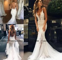 Wholesale Pallas Couture Lace Floral Long Train Mermaid Beach Wedding Dresses Custom Make V neck Full length Fishtail Bridal Gowns