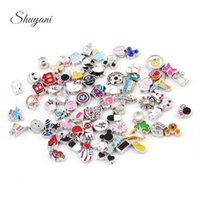 Wholesale Enamel Metal Bulk Charms Silver Plated Floating Locket Charms for Memory Locket Necklace DIY Bracelet