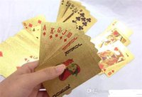 Wholesale New arrivals sets Gold foil plated playing cards Plastic Poker US dollar Euro Style and General style With Certificate