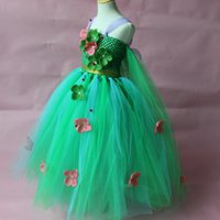 beautiful princess costumes - 2016 New Arrival Elsa Princess Girl Dresses Green Elsa Costume With Beautiful Flowers Frozen Fever Anna Dresses kids clothing BXQY