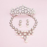artificial necklace set - Artificial Pearl Bridal wedding jewelry Tiaras Hair set of the Bride Crown Earrings Necklace Bridal Accessories T1603