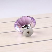 Wholesale Free DHL Shiny Polished Chrome Door Knob Drawer mm Purple Cabinet Knob Pull Handle Door Knob Usd For Home Kitchen Accessories E