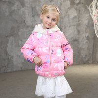 Wholesale Girls Down Coats New Vogue Candydoll Kids All match Winter Outerwear Hooded Cartoon Ears Warm Breathable Girl s Winter Coat