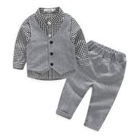 Wholesale 2017 new style Fashion baby boy clothes gentleman pieces set party and wedding Long Sleeve Kids Boy Clothing Set