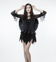 Wholesale 2016 Cosplay Devils Hot Selling Halloween Costume Night Angel With Fishnet Stockings Sexy And Fanshion Black Chiffon LWJ29