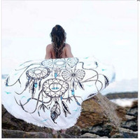 Wholesale New Beach Cover Up Round Tassel Cotton Pareo Beach Towel Beach Mat Shawl Yoga Mat Summer Letter Sarong Cloak Bathing Suit