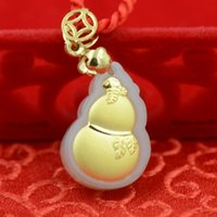 Wholesale Gourd for a long and happy life Boutique pendant Hetian white jade K thick gold pendant necklace gold size cm cm cm couple lover