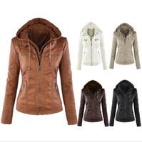 Wholesale Newest Women s Winter Leather Jacket Coat Hoodies Hooded Lapel Zipper Detachable Leather Jacket Female jaqueta de cour