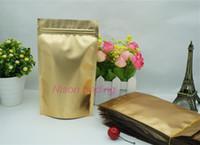Precio de Bolsas de embalaje reutilizables-100pcs / pack, los 9 * 13cm Levántese el bolso de oro mate del ziplock del papel de aluminio, oro que aluminiza el coco de la galjanoplastia / el bolsillo del embalaje del cacahuete resellable