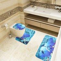 bath world - Set Bath Mats Sea World Designed Bathroom Livingroom Carpet Pedestal Lid Toilet Rug Mat