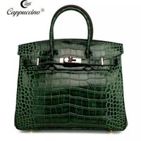 Wholesale 2016 cappuccino new fashion high quality Real Leather handbag with croc patterns elegant lady leather tote bag