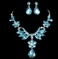 alloy posts - The new pregnant post trade hot style alloy diamond necklace earrings suit wedding dress accessories accessories jewelry