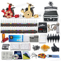 Wholesale Complete Tattoo Kit Machine Gun Set Equipment Power Supply Color Ink with case GD