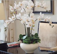 arranging orchids - orchid Phalaenopsis real touch flower with leaves artificial orchids arrangement DIY arrange flower no vase