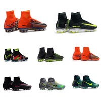 Wholesale New Mens Mercurial Superfly CR7 FG Indoor High Ankle Soccer Cleats Magista Obra Soccer Shoes Outdoor League Football Boots