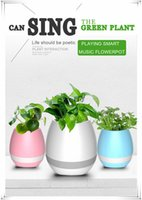 vases en fleurs vertes achat en gros de-Musique Green Plant Smart Haut-parleur Bluetooth Music Flower Pots Décoration Home Office Green Plant Music Vase Touch Induction Creative DHL