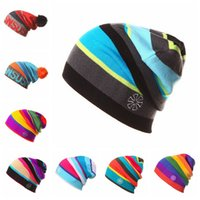 Cheap Beanie/Skull Cap Winter Colored Stripe Knitted Hat Best Yarn Dyed Casual Women Men Beanies Skull Caps