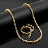 Wholesale Mens Lady Gold Tone Simulated Diamond Hip Hop Chain Necklace Row Top Fashion Bling Bling Necklace Bracelet Set