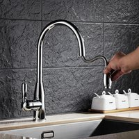 Wholesale DONA1530 Contemporary pull out kitchen sink mixer tap with deck mouted hot cold kitchen faucet by solid brass kitchen mixer tap