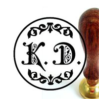 Wholesale double letter design wedding Retro antique ancient sealing wax stamp set customize logo custom map image handle