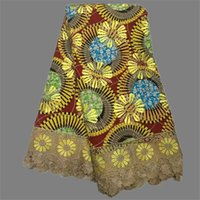 batik cloth - Fashionable embroidery wax cloth African real batik wax fabric with water soluble lace for sewing dress yards WLF87