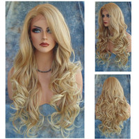 Wholesale Hot popular modern girl long curly blonde machine made synthetic hair wigs for woman with hair net
