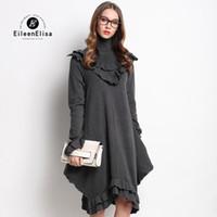 Wholesale EE Runway dress high quality fashion autumn winter gray dress with turtleneck women luxury brand dress