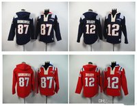 Wholesale Patriots Rob Gronkowski Tom Brady Blue Stitched Football Hoodies Men s Sweatshirts Winter Jacket Embroidery Logos