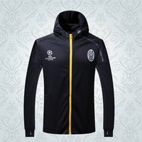 athletic coats - Juve style thai quality winter coats long sleeve athletic football jackets men Soccer hoodies soccer coats