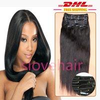 Clip de cabello completo en extensiones de cabello humano Clip de cabello negro natural 9 piezas Clip de pelo brasileño recto en extensiones