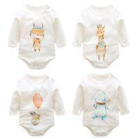 Une pièce de bébés bébés mamelons 2017 marque mignon animal nouveau-né jumpsuit printemps automne dessin animé renard souris éléphant girafe fille mamelon bébé vêtements