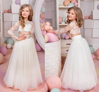 Wholesale 2017 Cute Long Sleeves Pageant Dresses Lace Tulle Floor Length Princess White Flower Girls Dresses For Weddings Two Pieces Style