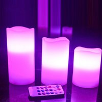 battery powered candles with remote - Battery powered LED Flameless Candles Changing Colors Waterproof Candle Light with Remote Control Timer Wedding Christmas Party Light