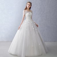 Wholesale Autumn winter show thin princess Korean word shoulder v neck contracted by hand take bride s wedding dress