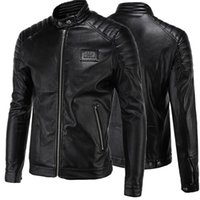 Wholesale Leather Jackets for Men High end Locomotive Zipper Slim Fit Long Sleeves Stand Collar Men s Leather Jackets US Size XS XXXL