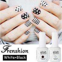 Wholesale Frenshion Set Black and White Paint Feel Gel Nail Art Soak Off Nail Art Basic Gel Polish Nail Vanish ml Lak Esmaltes Pe